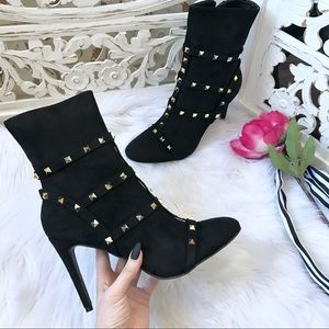 Shoes - Rockstud Heeled Calf Boots